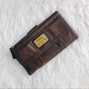 Fossil Vintage Brown Soft Leather Long Wallet